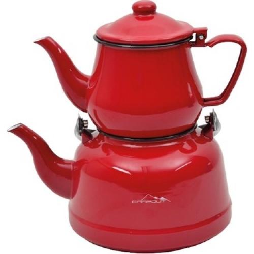 Nurgaz Campout Emaye Kamp Çaydanlık Set Kırmızı